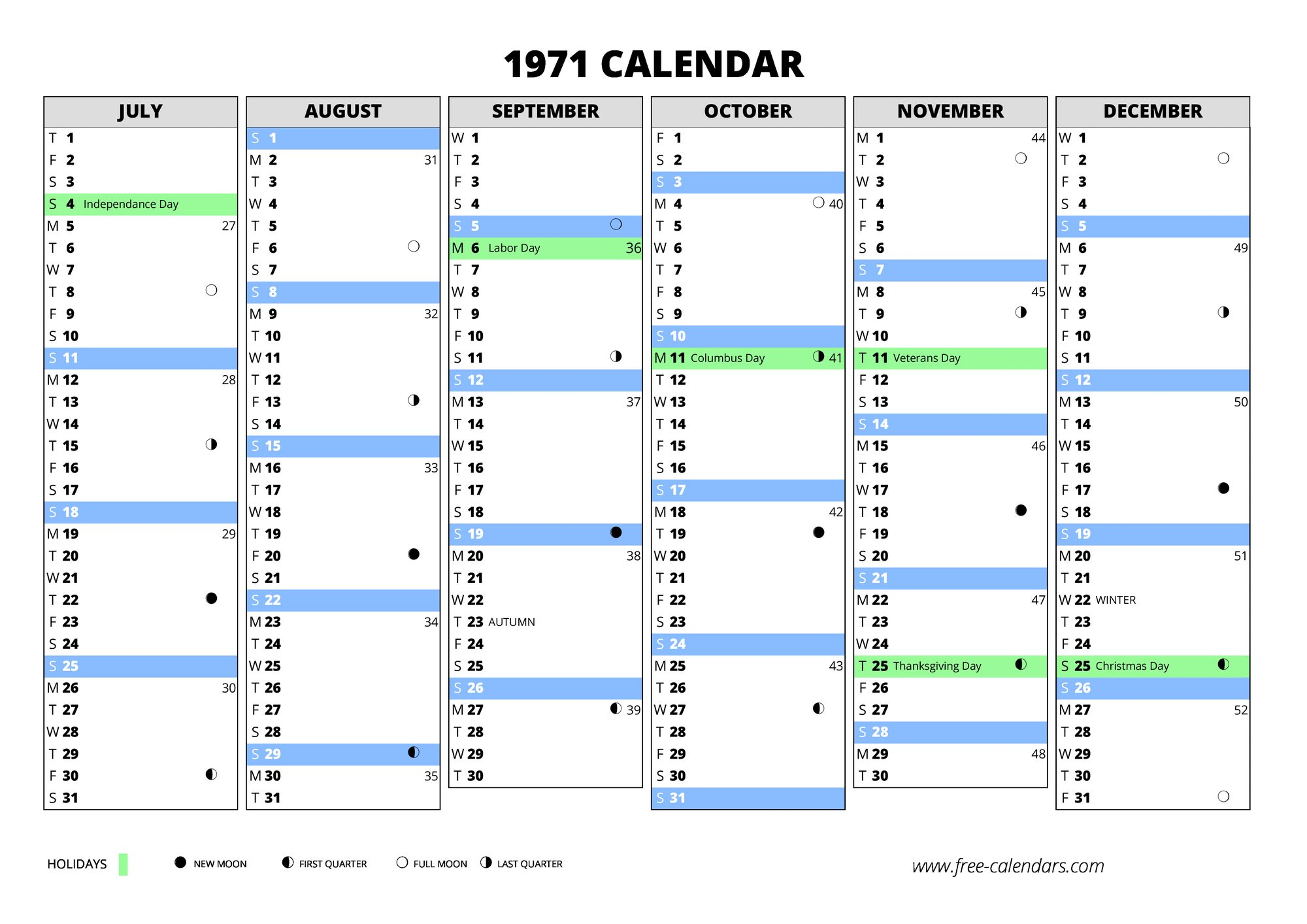 December Moon Calendar >> 1971 calendar ≡ free-calendars.com