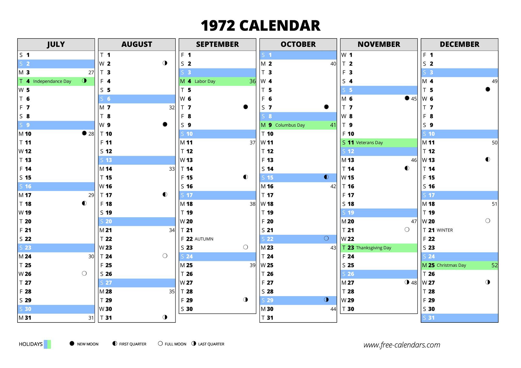 1972 Calendar Free Calendars Com