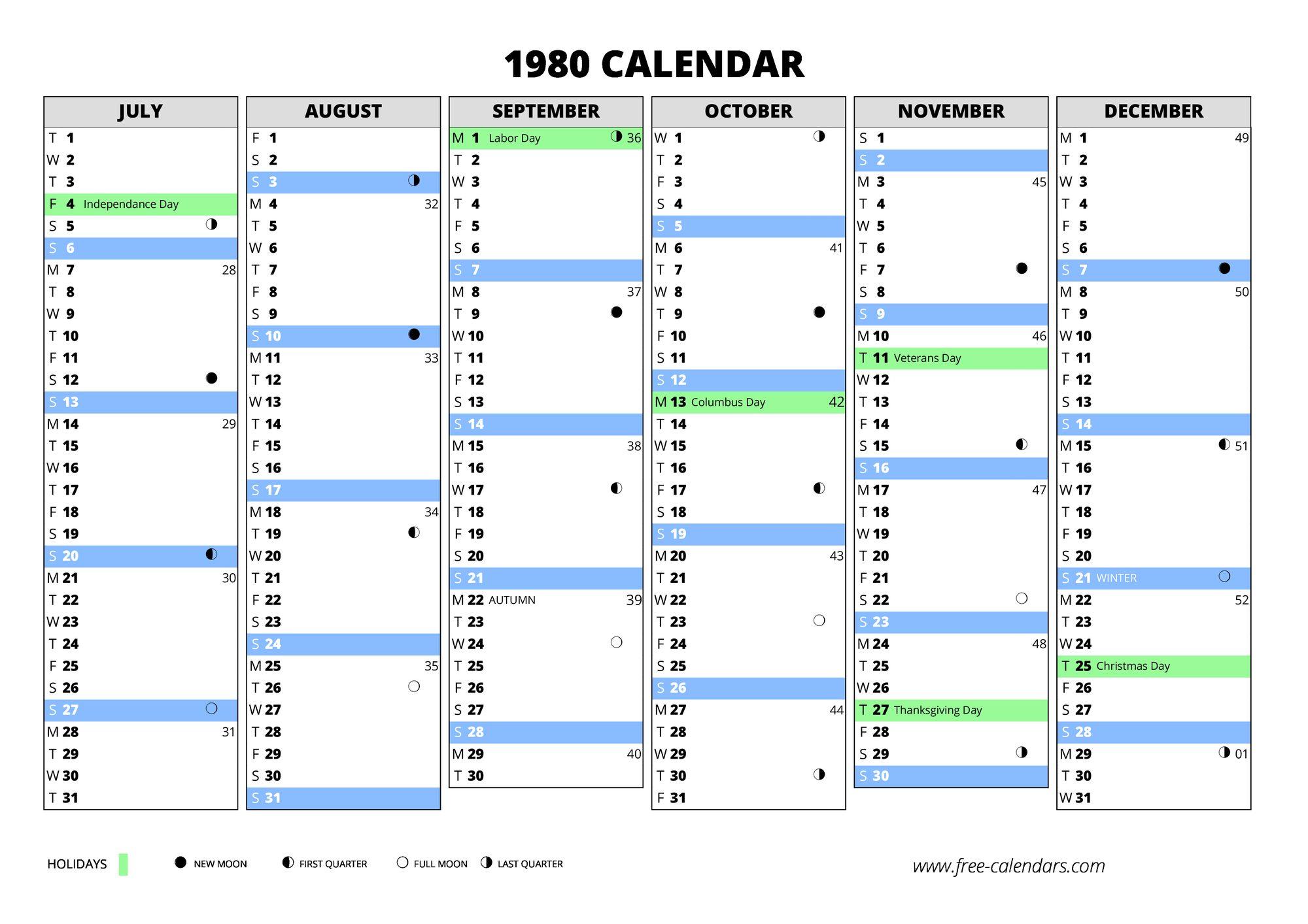 1980 Calendar Free Calendars Com