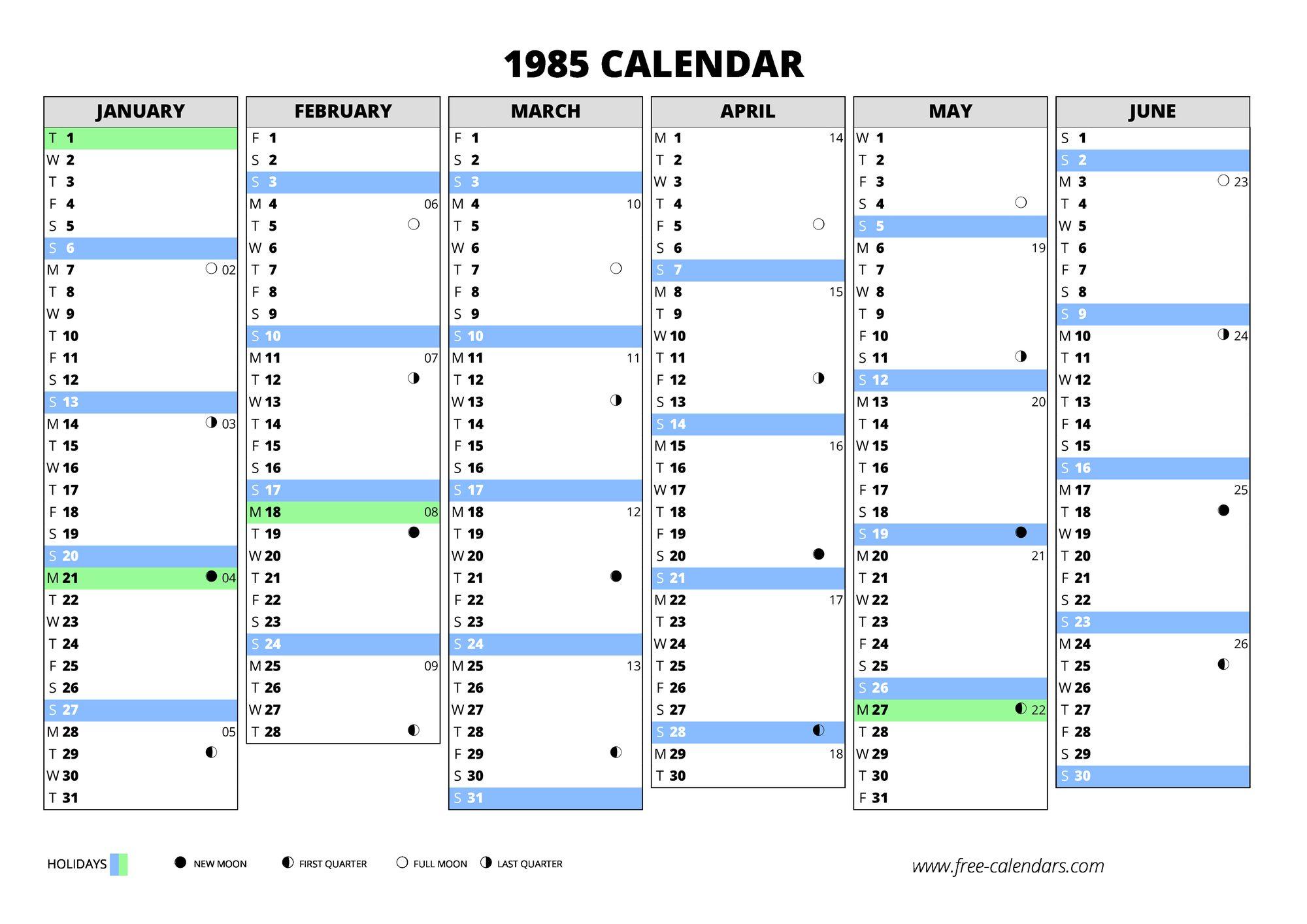 1985 Calendar Free Calendars Com