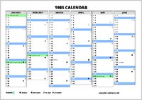 1985 Calendar.1985 Calendar Free Calendars Com