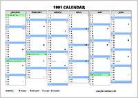 1991 Calendar Free Calendars Com