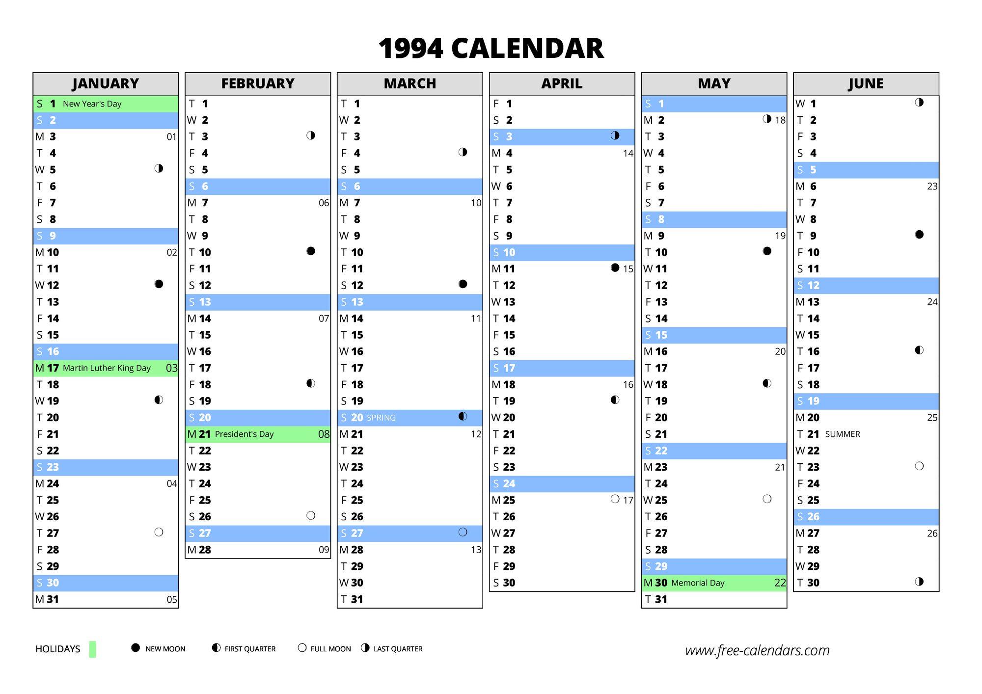 1994 Calendar Free Calendars Com