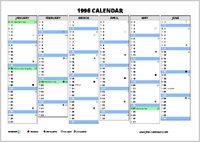 1996 Calendar Free Calendars Com