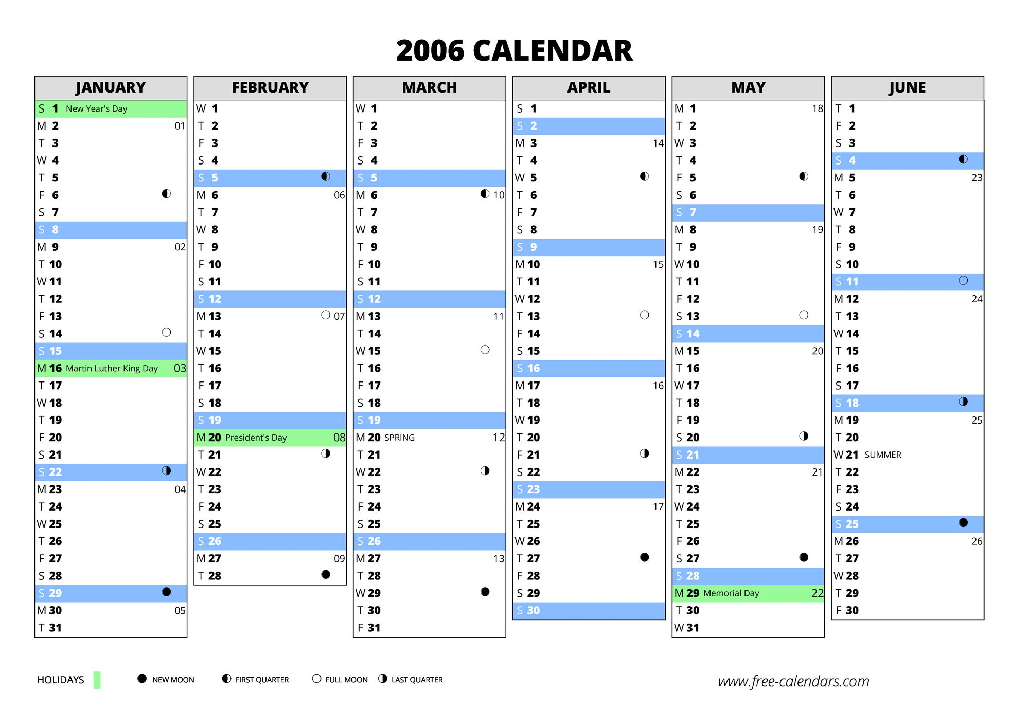 2006 First Semester Second Blank Calendar