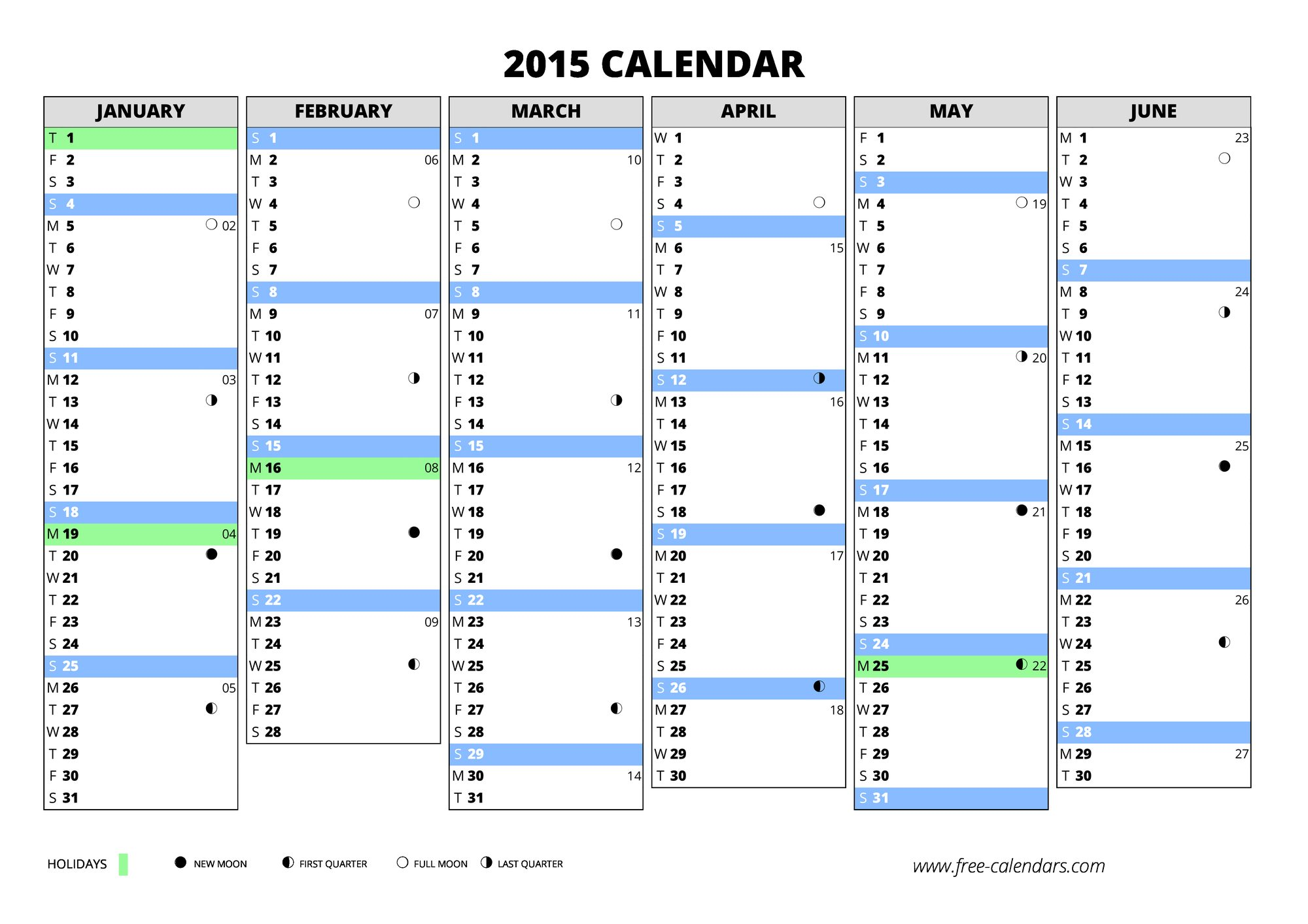 2015 blank first semester 2015 blank second semester portait 2015 calendar