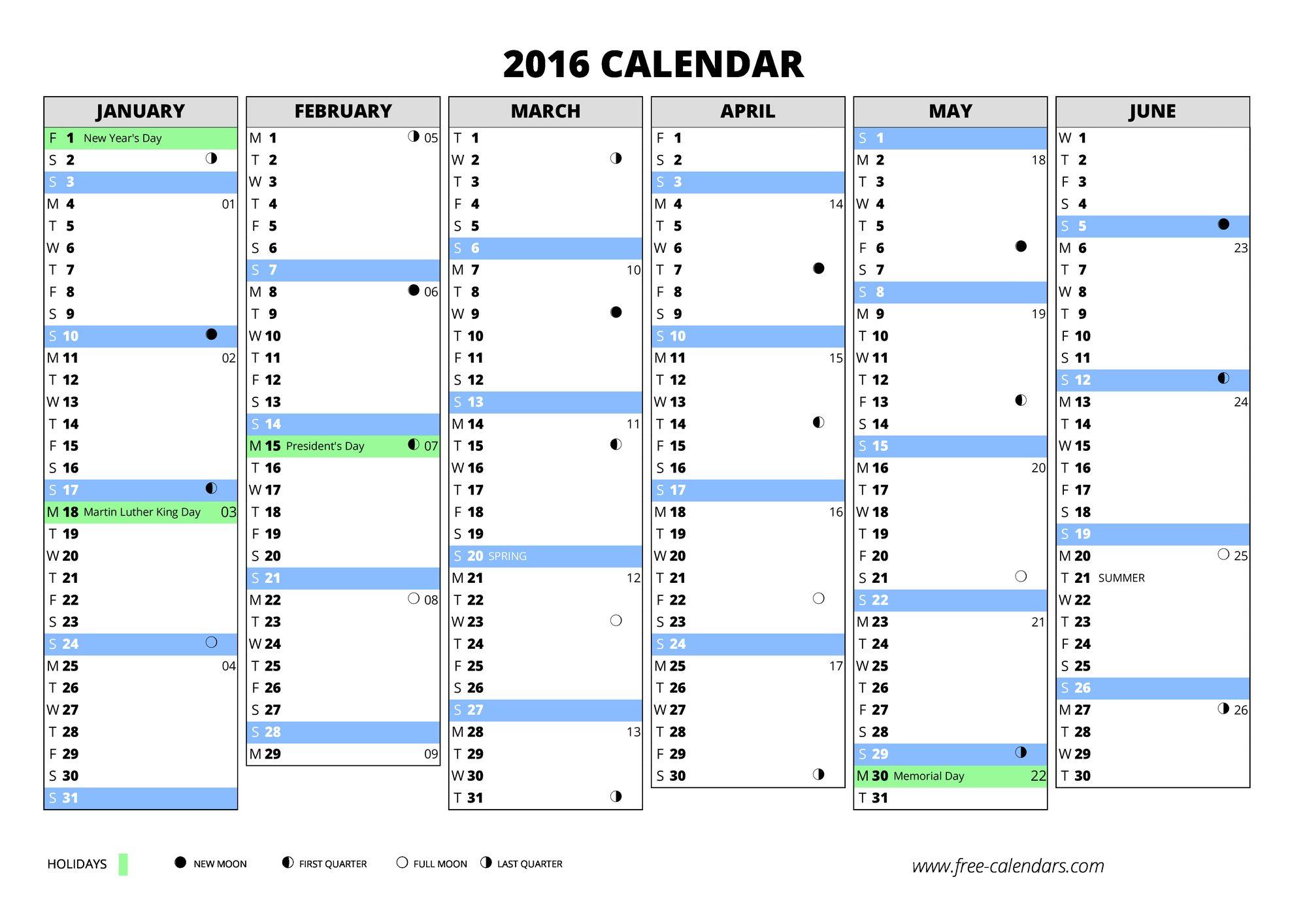 2016 calendar - free-calendars.com