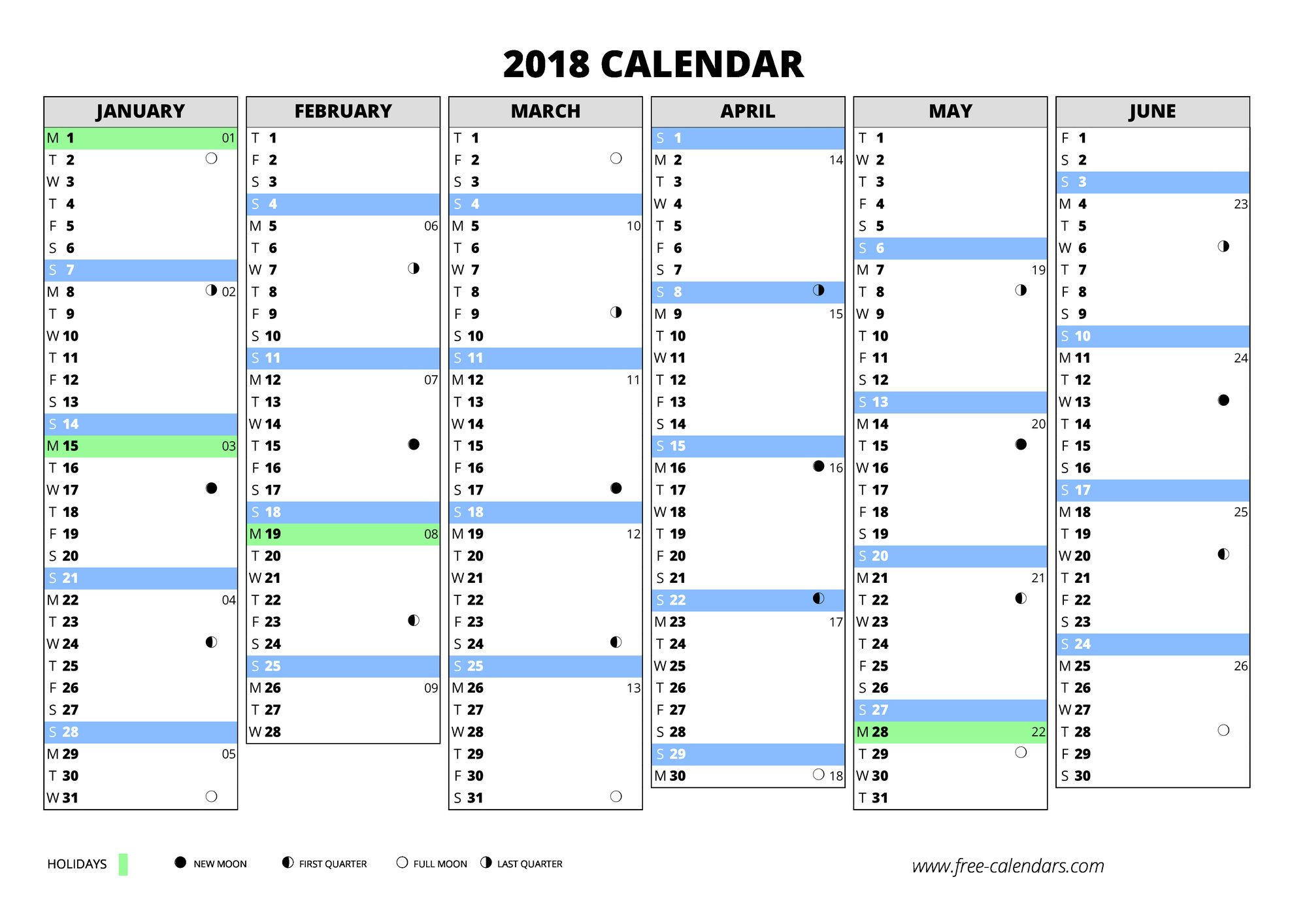 2018 blank first semester 2018 blank second semester portait 2018 calendar
