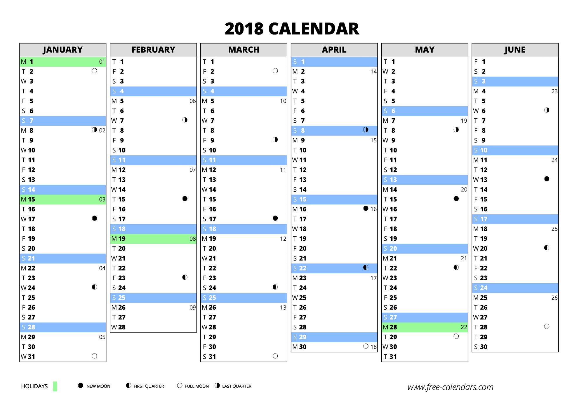 2018 calendar - free-calendars.com