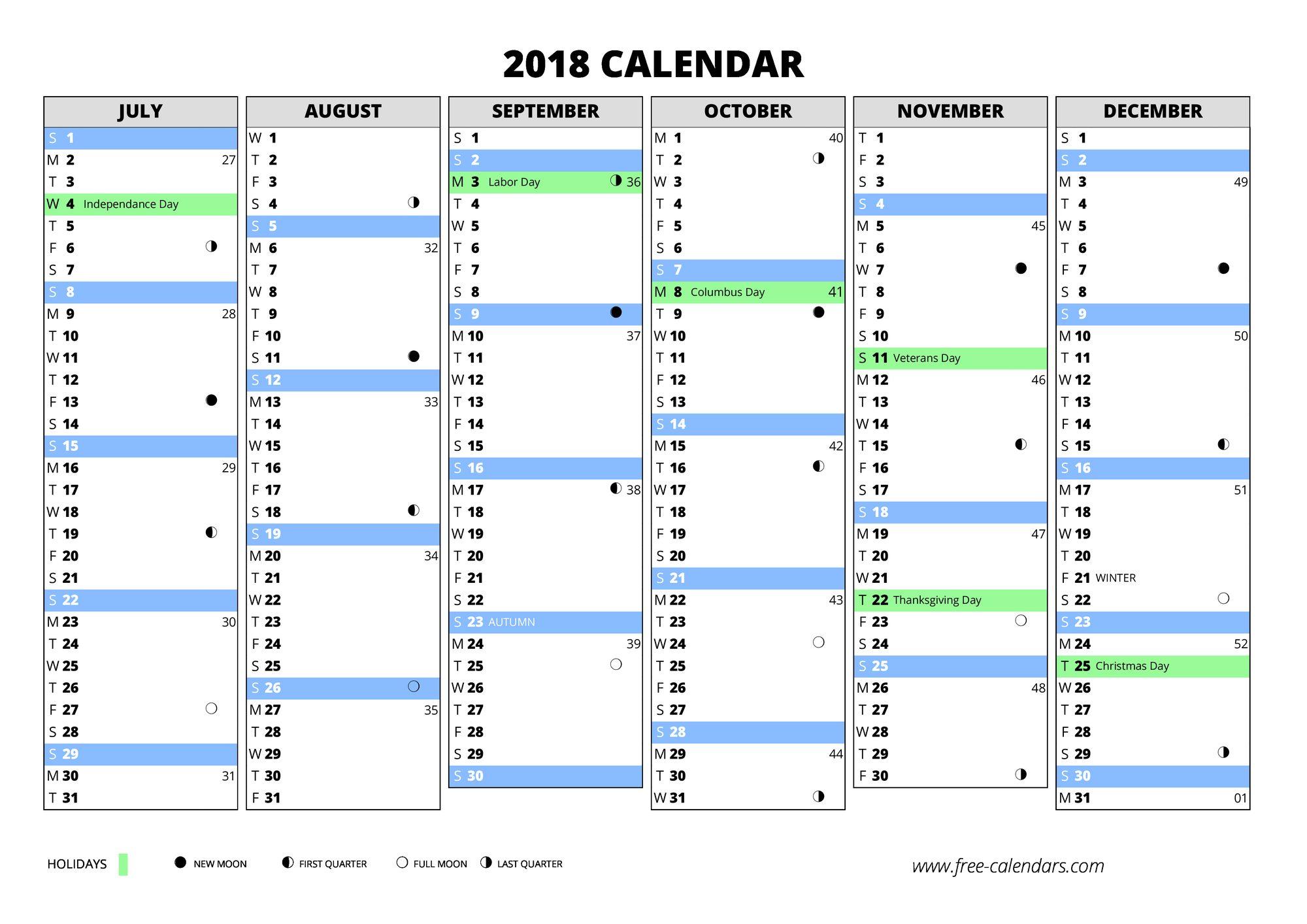 free weekly calendar template 2018