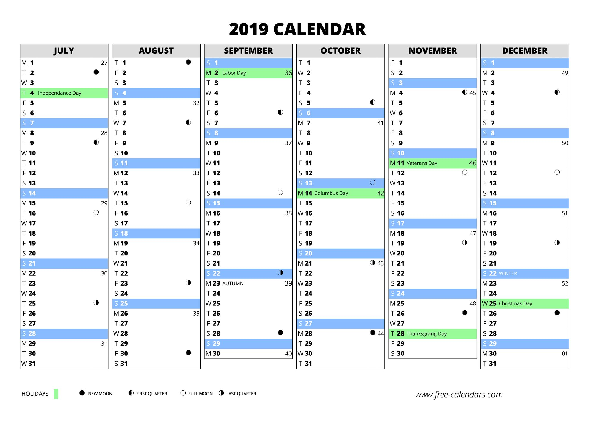 2019 first semester 2019 second semester 2019 blank calendar