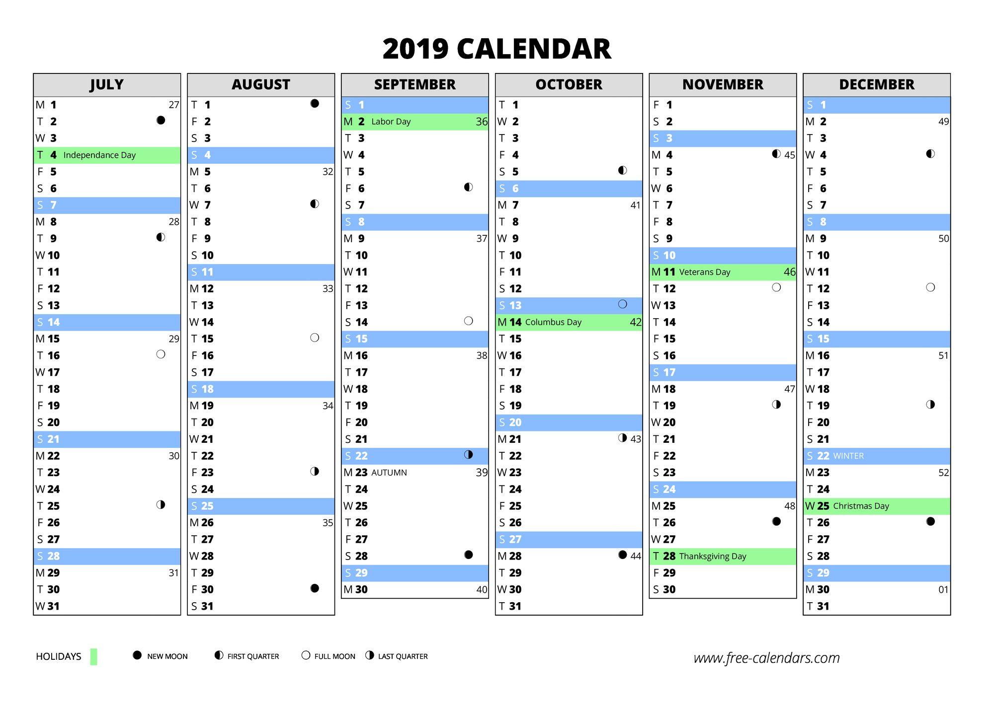 2019 first semester 2019 second semester 2019 blank calendar