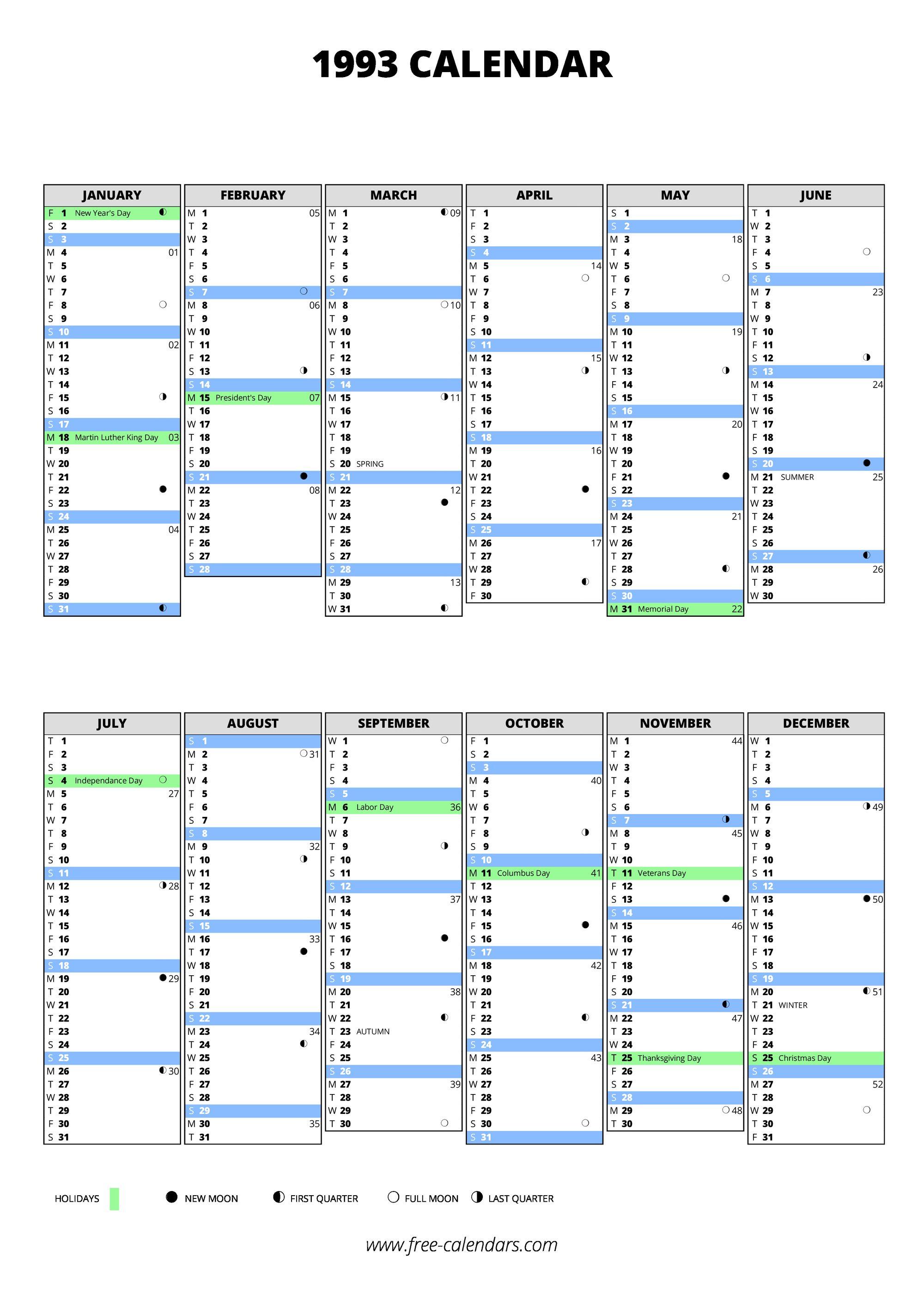 1993 Calendar Free Calendars Com