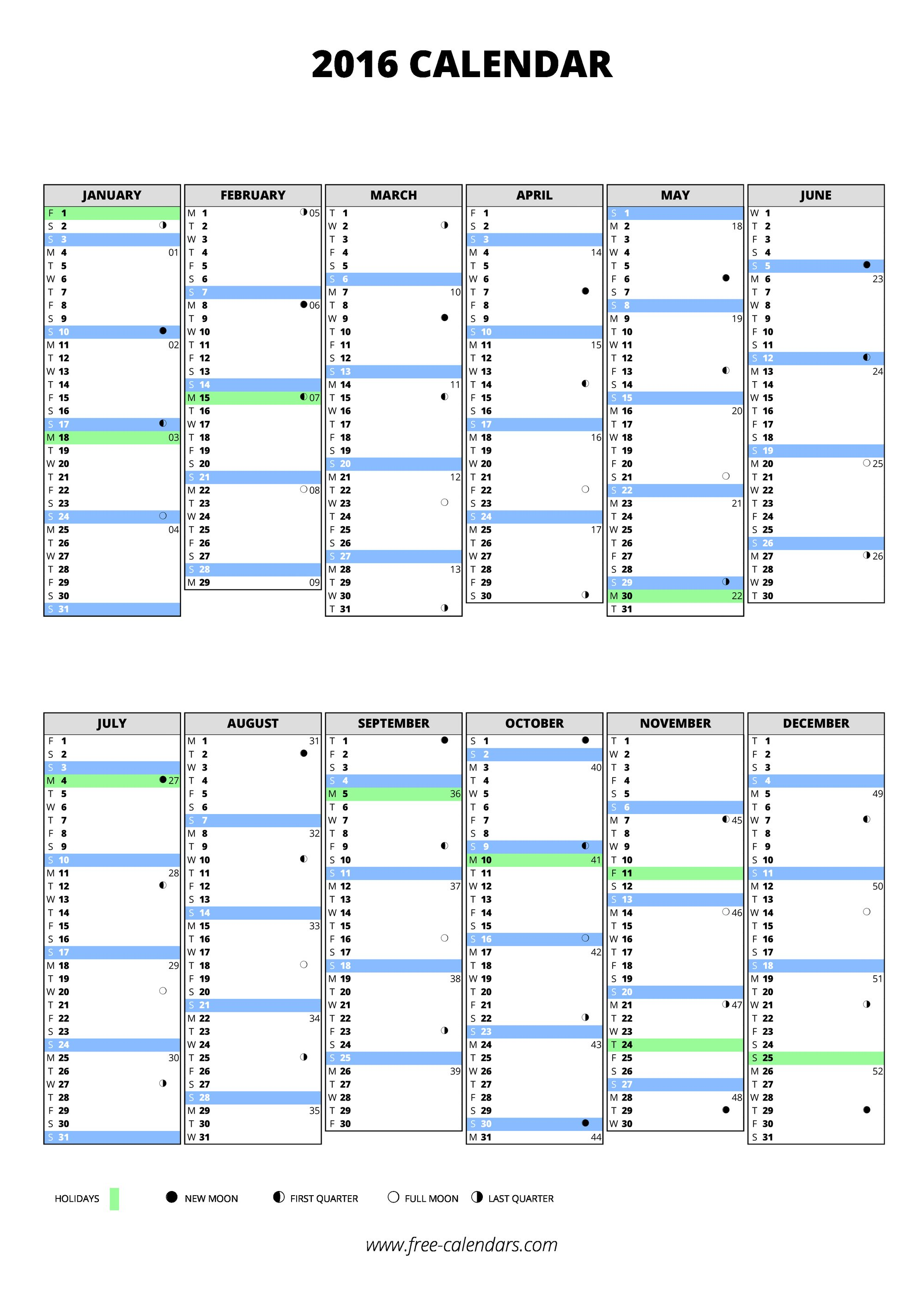 2016 blank calendars