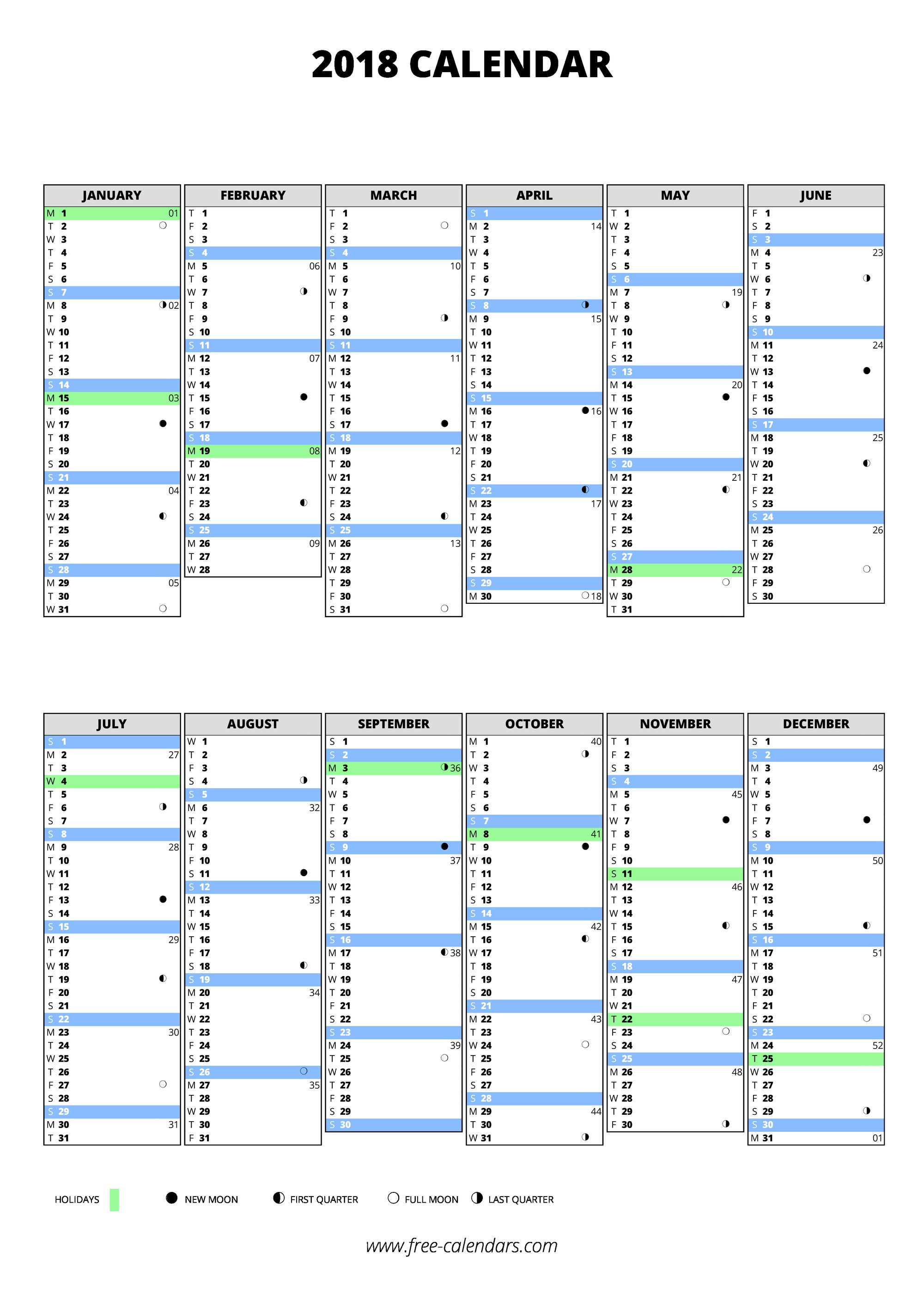 free download printable calendar 2018 in one page clean design